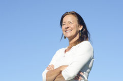 Happy friendly relaxed mature woman Royalty Free Stock Photography