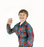 Happy friendly teenage boy Stock Photos