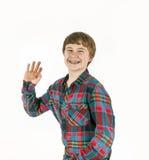 Happy friendly teenage boy Stock Photos