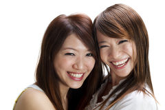 Happy friends. Asian female having fun together stock images