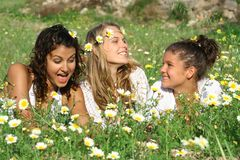 Happy friends. Happy smiling friends beautiful fun Royalty Free Stock Image