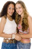 Happy Friends. Two smiling young attractive women on white background Royalty Free Stock Images