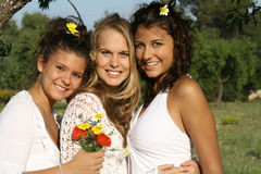 Happy friends. Beautiful young happy smiling women Royalty Free Stock Photography