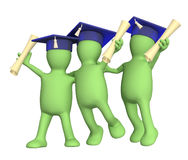 Happy friends. Schoolfellows with diplomas. Object over white Stock Photos