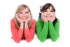 Happy friends. Two crazy women in friendship. over white background Royalty Free Stock Photo
