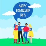 Happy friends from all around the world hugging, happy international friendship day flat style design character vector vector illustration