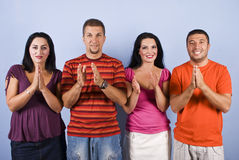Happy friends applauding Stock Photography