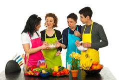 Happy friends baking together Stock Image