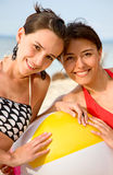 Happy friends at the beach Stock Photos