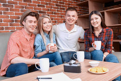 Happy friends in a cafe Stock Photo