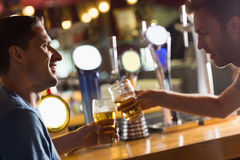 Happy friends catching up over pints Royalty Free Stock Image