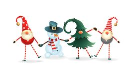 Happy friends celebrate Winter Solstice, Christmas and New Year. Scandinavian gnomes and snowman. Happy friends celebrate Winter Solstice Christmas and New Year royalty free illustration