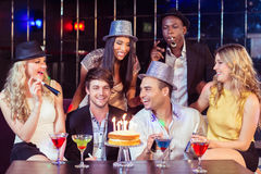 Happy friends celebrating birthday Royalty Free Stock Images