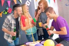 Happy friends celebrating birthday Royalty Free Stock Photos