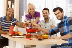 Happy friends celebrating together Royalty Free Stock Photography