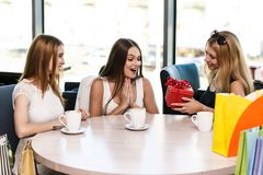 Happy friends. Cheerful young women surprising friend with a gift in cafe Stock Image