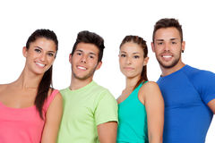Happy friends with colored sportswear Royalty Free Stock Photo