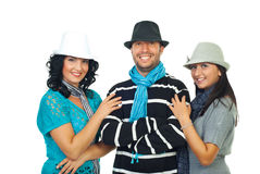 Happy friends with cool hats royalty free stock image