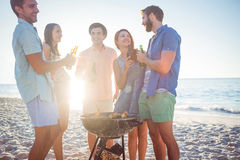 Happy friends doing barbecue and drinking beer Stock Image