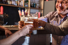 Happy friends drinking beer at counter in pub Stock Photography