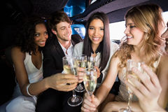 Happy friends drinking champagne Royalty Free Stock Photography
