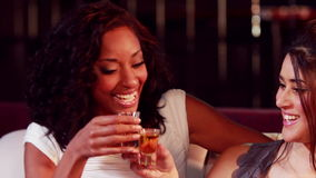 Happy friends drinking shot. In nightclub stock footage