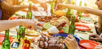 Free Happy Friends Eating Barbecue Meat Outdoor In City Park On Summer Time - Young People Having Fun Drinking Bear At Bbq Party - Stock Photo - 176588380