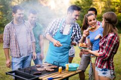 Happy friends enjoying barbecue party in forest stock photo