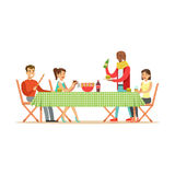 Happy friends enjoying barbeque, cheerful people characters at a picnic vector Illustration. Isolated on a white background vector illustration