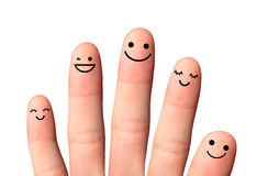 Happy friends or family, isolated with clipping paths on white b Stock Image