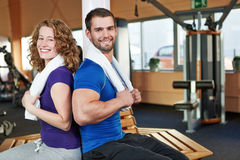 Happy friends in a fitness center Stock Photos