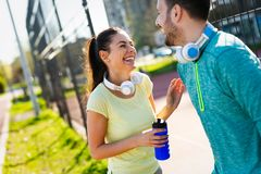 Friends fitness training together outdoors living active healthy Royalty Free Stock Photos