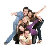 Happy friends on the floor Royalty Free Stock Photos