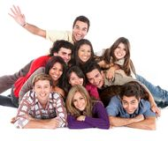 Happy friends on the floor Royalty Free Stock Image