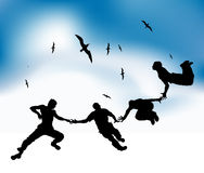 Happy friends fly in sky, black silhouettes. Vector illustration Stock Images