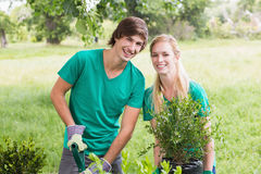 Happy friends gardening for the community Royalty Free Stock Photo