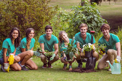 Happy friends gardening for the community. On a sunny day royalty free stock photo