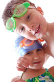 Happy friends with goggles Stock Photography
