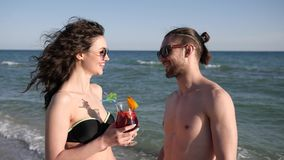 Happy friends have fun during summer Rest, vacation couple in love on exotic islands, lovers guy and girl flirting on. Beach, romantic trip at seaside for women stock footage
