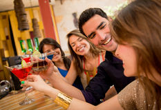 Happy friends having drinks Royalty Free Stock Image