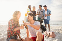 Happy friends having fun around barbecue Stock Image
