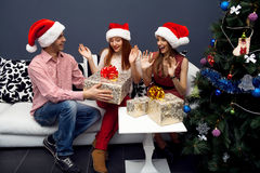 Happy friends having fun on cristmas Stock Image