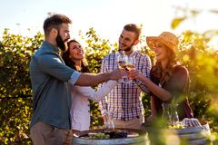 Group of young people tasting wine in winery near vineyard stock photo