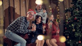 Happy friends having fun at new year christmas party cheers with a glass of champagne. Happy celebration concept. 4K stock video footage