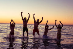 Happy friends having fun in the water Royalty Free Stock Image