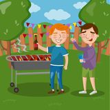 Happy friends having outdoor barbecue, men cooking meat, talking and drinking beer together vector Illustration Stock Photography