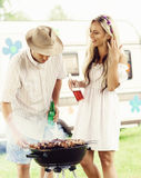 Happy friends having a party outdoors. Holiday, party, free time Stock Photo