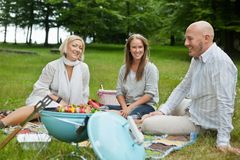 Happy Friends Having Picnic Royalty Free Stock Photo