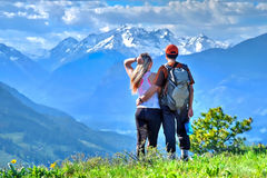 Happy friends hipsters  hiking in mountains. North Cascades  National Park. Cascade Mountains. Winthrop. Washington.  The United States Stock Photography