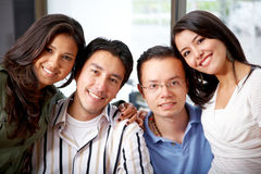 Happy friends at home Stock Photography